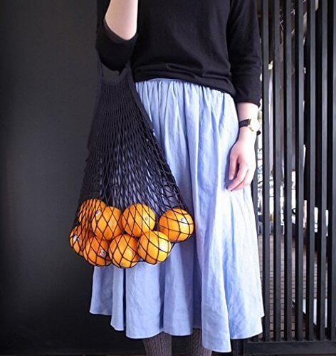 Net bag trend, black net grocery bag