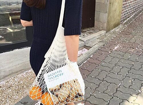 net bag trend, a tan net grocery bag is the latest Instagram girl accessory