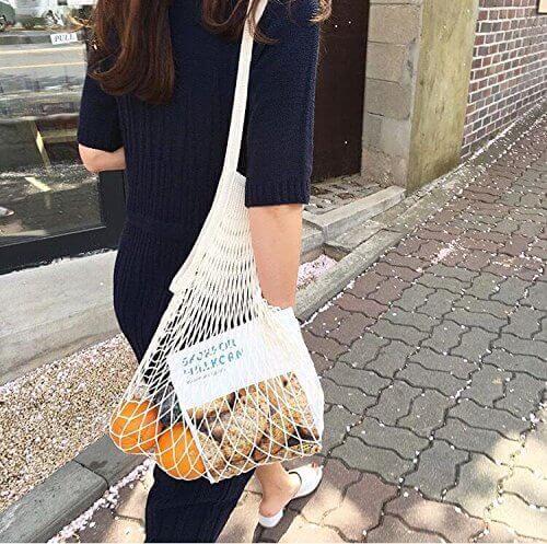 Tan net bag street style