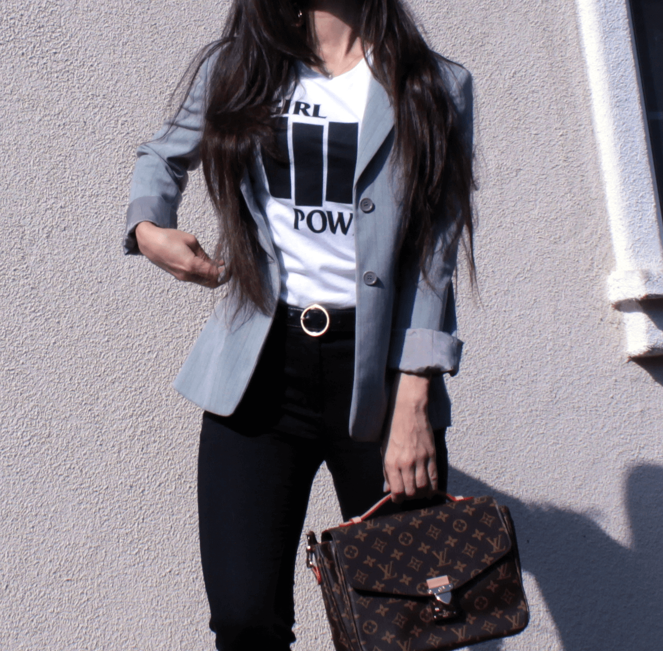 Dolores Haze NYC Girl Power T-shirt, gucci fur loafers, blazer LV bag, crop pants