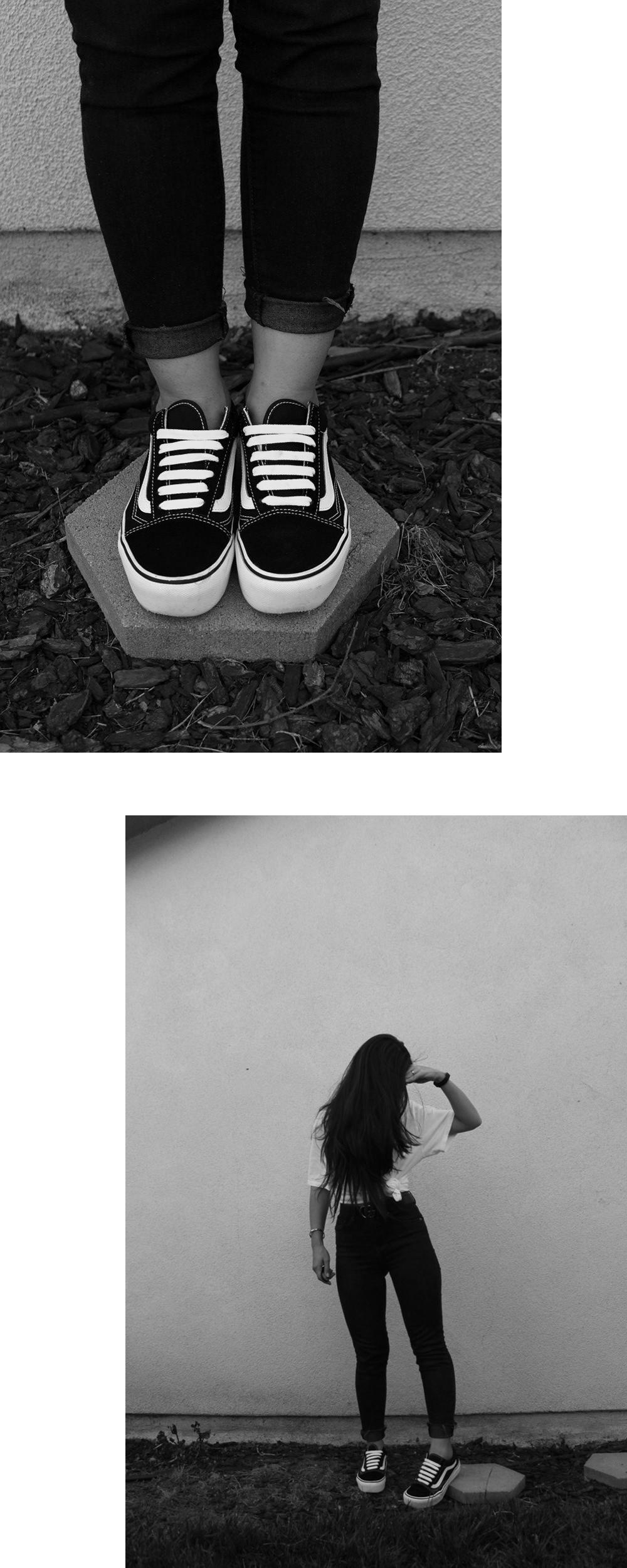 Vans Old Skool black and white platform sneakers