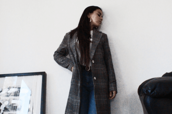 Fall Uniform | Everlane Denim and houndstooth coat