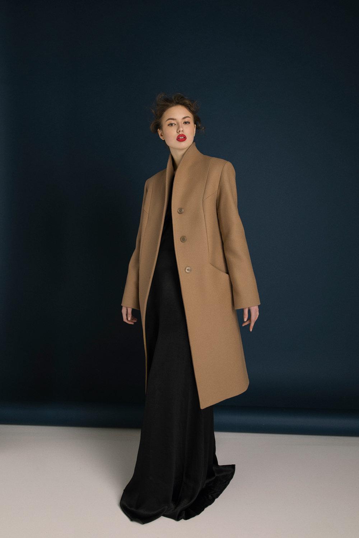 Short Camel Wool Coat made to order in Ukraine