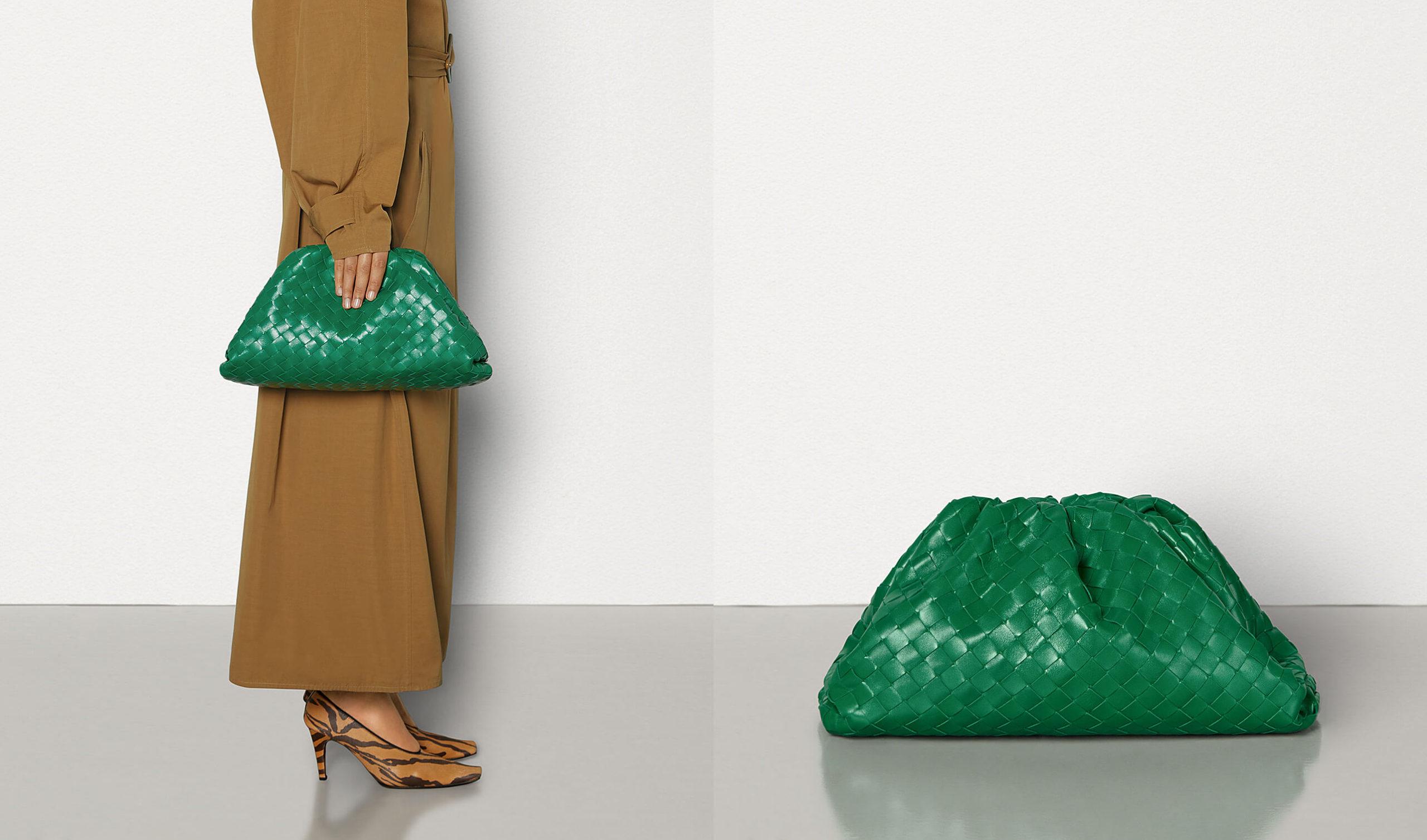 bottega veneta pouch Intrecciato woven leather in green