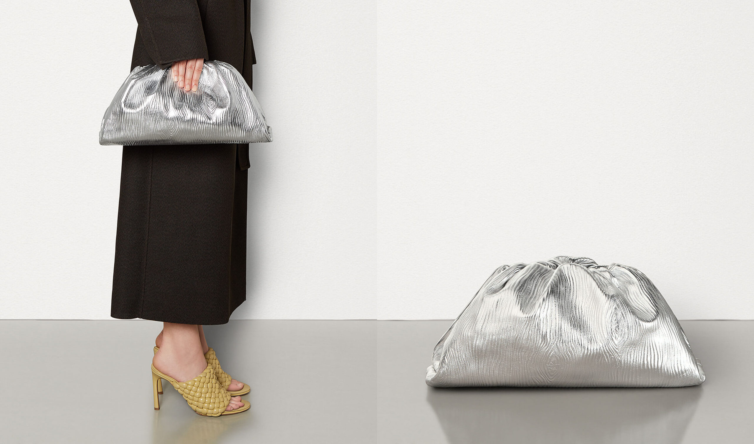 the pouch in metallic silver